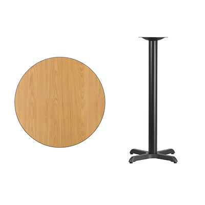 Flash Furniture 30 Round Laminate Table Top Natural w/22x22 Bar-Height Table Base