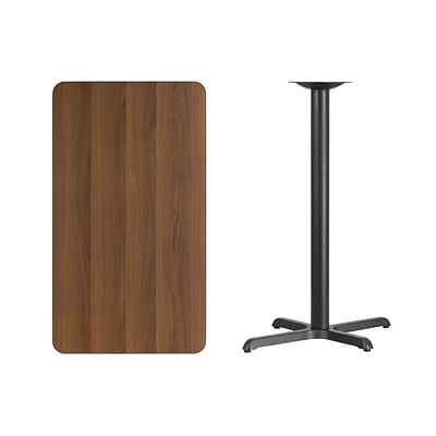 Flash Furniture 24x42 Rectangular Laminate Table Top, Walnut w/22x30 Bar-Height Table Base