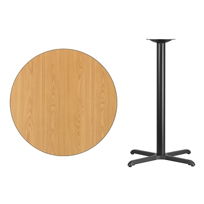 Flash Furniture 36 Round Laminate Table Top, Natural w/30x30 Bar-Height Table Base
