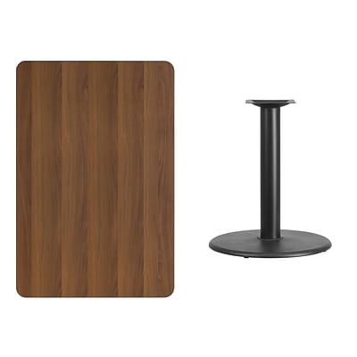 Flash Furniture 30x45 Rectangular Laminate Table Top in Walnut w/24 Round Table Height Base