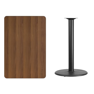 Flash Furniture 30x45 Rectangular Laminate Table Top, Walnut w/24 Round Bar-Height Table Base
