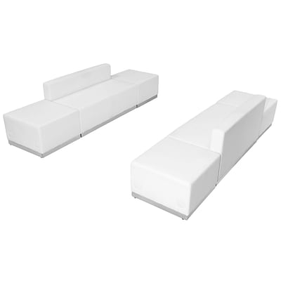 Flash Furniture  Hercules Alon Series Leather Reception Configuration, 6 Pieces, White (ZB803700SWH)