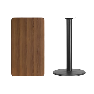 Flash Furniture 24x42 Rectangular Laminate Table Top, Walnut w/24 Round Bar Height Table Base