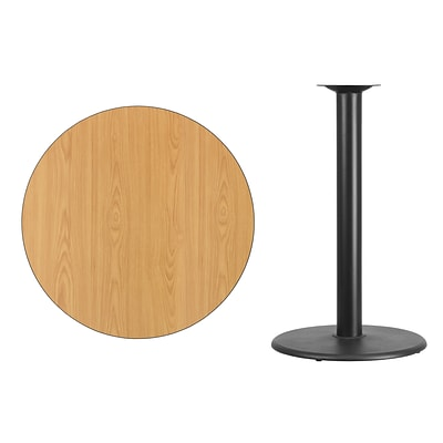 Flash Furniture 36 Round Laminate Table Top, Natural w/24 Round Bar Height Table Base