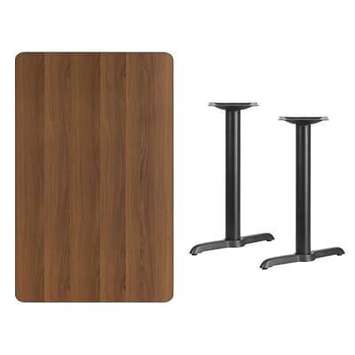 Flash Furniture 30x48 Rectangular Laminate Table Top, Walnut w/5x22 Table-Height Bases
