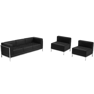 Flash Furniture Hercules Imagination Series Leather Sofa and Chair Set, Black (ZBIMAGSET13)