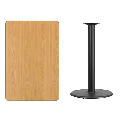 Flash Furniture 30x45 Rectangular Laminate Table Top, Natural w/24 Round Bar-Height Table Base