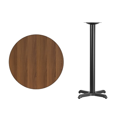 Flash Furniture 30 Round Laminate Table Top, Walnut w/22x22 Bar-Height Table Base