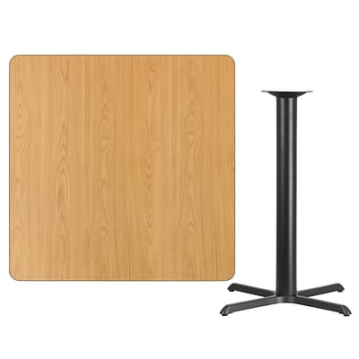 Flash Furniture 42 Square Natural Laminate Table Top w/33x33 Bar Height Table Base, Black