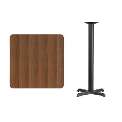 Flash Furniture 30 Square Laminate Table Top, Walnut w/22x22 Bar-Height Table Base