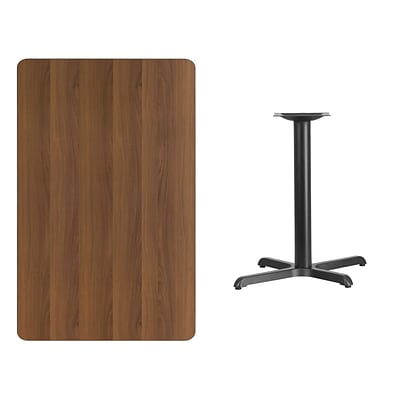 Flash Furniture 30x48 Rectangular Laminate Table Top, Walnut w/22x30 Table-Height Base