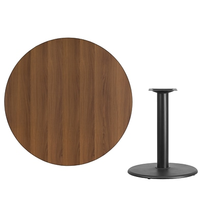 Flash Furniture 42 Round Laminate Table Top, Walnut w/24 Round Table-Height Base (XURD42WATR24)