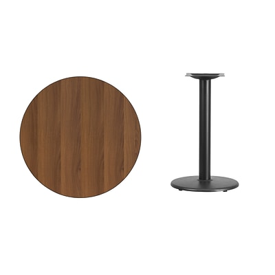 Flash Furniture 30 Round Laminate Table Top, Walnut w/18 Round Table Height Base (XURD30WATR18)