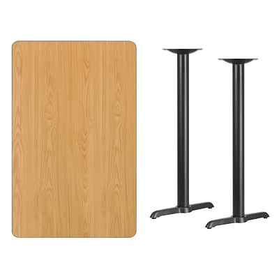Flash Furniture 30x48 Rectangular Laminate Table Top, Natural w/5x22 Bar-Height Table Bases