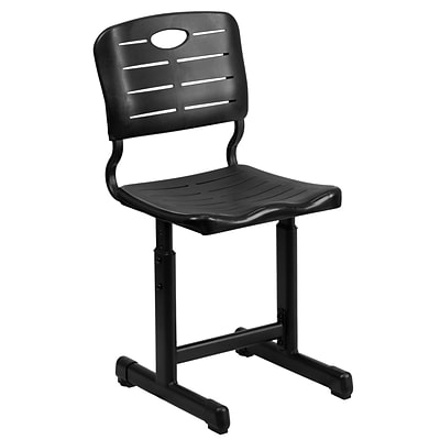 Flash Furniture Adjustable-Height Student Chair with Pedestal Frame, Black (YUYCX09010)