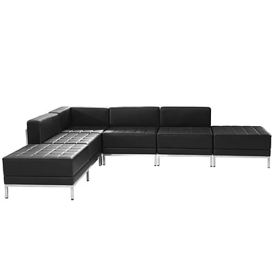 Flash Furniture Hercules Imagination Series Black Leather Sectional Configuration, 6