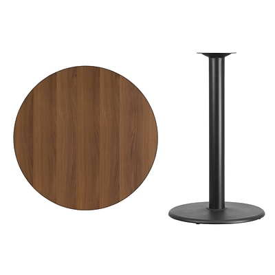 Flash Furniture 36 Round Laminate Table Top, Walnut w/24 Round Bar-Height Table Base