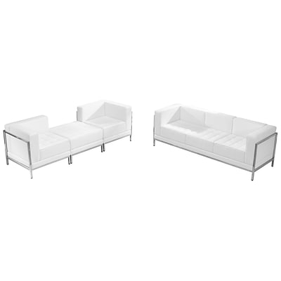 Flash Furniture Hercules Imagination Series White Leather Sofa and Lounge Chair Set; 4