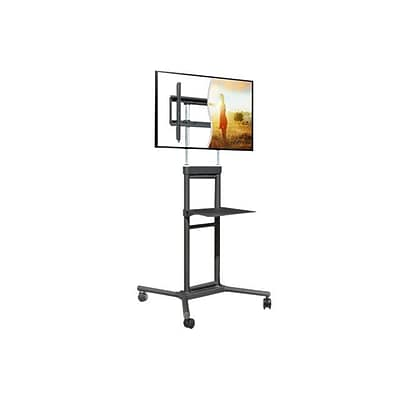 DoubleSight DS-5070CT Mobile TV Display Stand with Shelf; Black