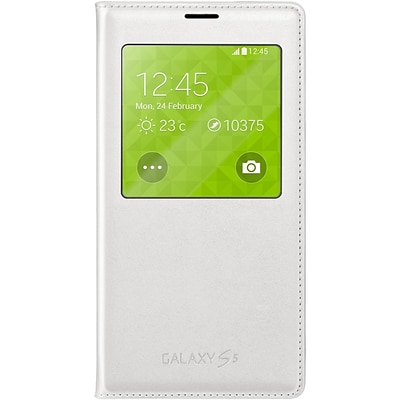Samsung Flip Cover for Galaxy S5 Wireless Charging S-View; White (EP-VG900BWUSTA)