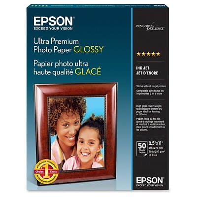 Epson ® Ultra Premium Letter Glossy Photo Paper; 11 x 8 1/2, Bright White, 50 Sheets/Pack (S042175)