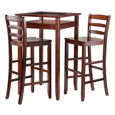 Winsome Halo Pub Table with Two 30 Ladder Back Stools, Walnut (94386)