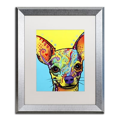 Trademark Fine Art Chihuahua by Dean Russo 16 x 20 White Matted Silver Frame (ALI0237-S1620MF)