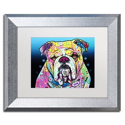 Trademark Fine Art The Bulldog by Dean Russo 11 x 14 White Matted Silver Frame (ALI0244-S1114MF)