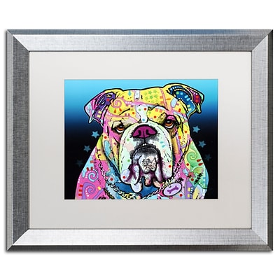Trademark Fine Art The Bulldog by Dean Russo 16 x 20 White Matted Silver Frame (ALI0244-S1620MF)