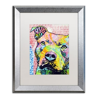 Trademark Fine Art Thouthful Pittbull II by Dean Russo 16 x 20 White Matted Silver Frame (ALI0261-S1620MF)