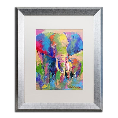 Trademark Fine Art Elephant 1 by Richard Wallich 16 x 20 White Matted Silver Frame (ALI0338-S1620MF)