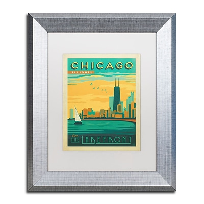 Trademark Fine Art Chicago II by Anderson Design Group 11 x 14 White Matted Silver Frame (ALI0428-S1114MF)