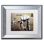 Trademark Fine Art Your Father by Banksy 11 x 14 White Matted Silver Frame (ALI0816-S1114MF)
