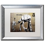 Trademark Fine Art Your Father by Banksy  16 x 20 White Matted Silver Frame (ALI0816-S1620MF)