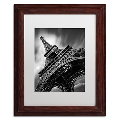 Trademark Fine Art Eiffel Tower Study II by Moises Levy 11 x 14 White Matted Wood Frame (ALI1056-W1114MF)