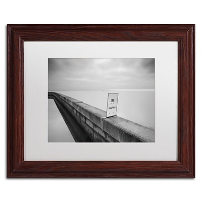 Trademark Fine Art Be Happy by Moises Levy 11 x 14 White Matted Wood Frame (ALI1060-W1114MF)