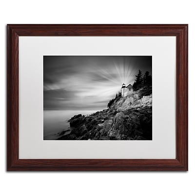 Trademark Fine Art Bass Harbor Lighthouse by Moises Levy 16 x 20 White Matted Wood Frame (ALI1065-W1620MF)