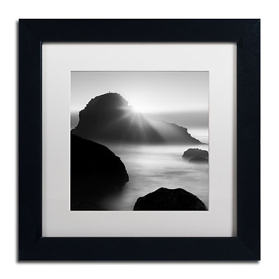 Trademark Fine Art Long Sunset at Indian Beach by Moises Levy 11 x 11 White Matted Black Frame (ALI1067-B1111MF)
