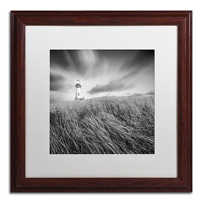 Trademark Fine Art Yaquina Lighthouse III by Moises Levy 16 x 16 White Matted Wood Frame (ALI1070-W1616MF)