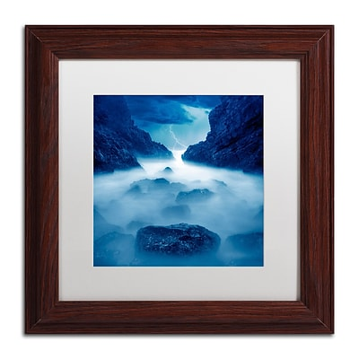 Trademark Fine Art Tormenta en Ixtapa Blue by Moises Levy 11 x 11 White Matted Wood Frame (ALI1083-W1111MF)