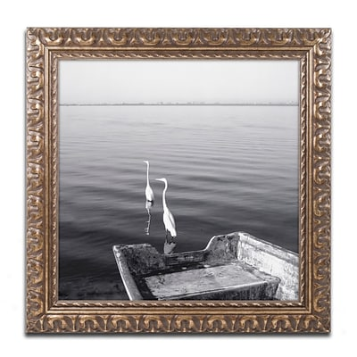Trademark Fine Art 2 Herons Leaving by Moises Levy 11 x 11 Ornate Frame (ALI1085-G1111F)