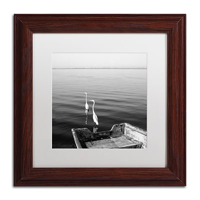 Trademark Fine Art 2 Herons Leaving by Moises Levy 11 x 11 White Matted Wood Frame (ALI1085-W1111MF)