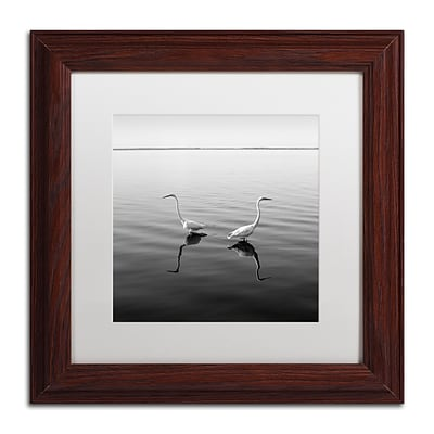 Trademark Fine Art 2 Herons by Moises Levy 11 x 11 White Matted Wood Frame (ALI1086-W1111MF)