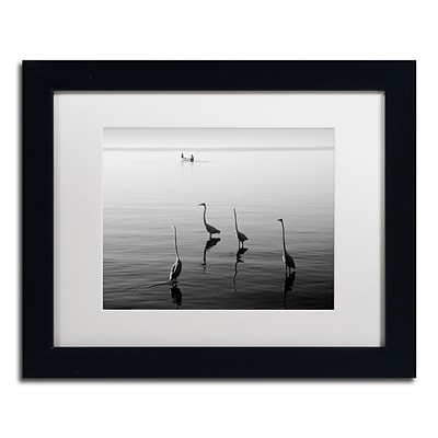 Trademark Fine Art 4 Herons and Boat by Moises Levy 11 x 14 White Matted Black Frame (ALI1088-B1114MF)