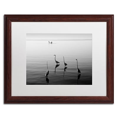 Trademark Fine Art 4 Herons and Boat by Moises Levy 16 x 20 White Matted Wood Frame (ALI1088-W1620MF)