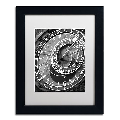 Trademark Fine Art Astronomic Watch Prague 11 by Moises Levy 11 x 14 White Matted Black Frame (ALI1094-B1114MF)