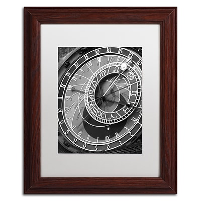 Trademark Fine Art Astronomic Watch Prague 11 by Moises Levy 11 x 14 White Matted Wood Frame (ALI1094-W1114MF)
