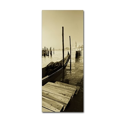 Trademark Fine Art Gondola and San Marco Antique by Moises Levy 10 x 24 Canvas Art (ALI1096-C1024GG)