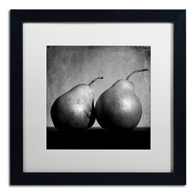 Trademark Fine Art Coqueteo Peras by Moises Levy 16 x 16 White Matted Black Frame (ALI1103-B1616MF)