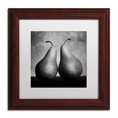 Trademark Fine Art Peras Enamoradas by Moises Levy 11 x 11 White Matted Wood Frame (ALI1106-W1111MF)